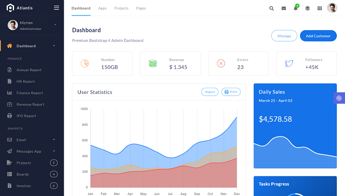 Atlantis PRO - Premium Bootstrap 4 Admin Dashboard