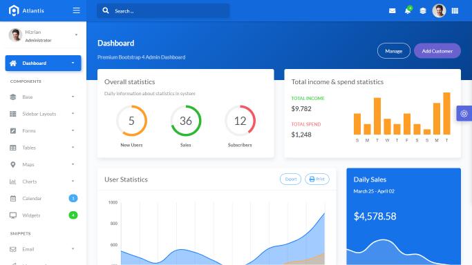 Atlantis Lite - Bootstrap 4 Admin Dashboard - Preview